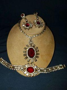 Signed Kramer Ruby Red & Clear Rhinestone Necklace bracelet & drop Earrings Set #Kramer