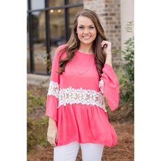 Fingers Crossed Tunic We love the lace trim and the awesome color of this top!  Check it out now at www.walkerboutique.com