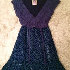 free people | blue velvet dress Only worn once! Beautiful sweater bodice and layered velvet skirt. Looks great with tights and boots. Free People Dresses