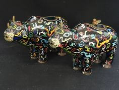 PAIR of ANTIQUE EARLY 20c CHINESE CLOISONNE RHINOCEROS FORM CONTAINERS AND COVER