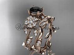 14kt rose gold diamond Cherry Blossom flower, Sakura engagement ring set, Black Diamond VD8151S