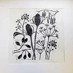 Lizzie Mabley: 'Winter Shapes' linocut print
