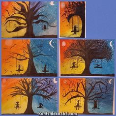 Art Room Britt: Silhouetted Day and Night Tree - Art Education ideas Halloween Art Projects, Fall Art Projects, School Art Projects, Art Education Projects, Halloween Kids, Color Art Lessons, 6th Grade Art, Ecole Art, Art Lessons Elementary