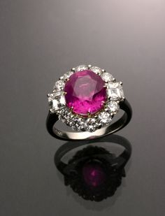 Platinum, Natural Pink Sapphire and Diamond Dinner Ring  Jewelry, Coins & Watches - Sale 1289 - Lot 107 - ADAM A. WESCHLER & SON, INC : AUCTIONEERS AND APPRAISERS - SINCE 1890
