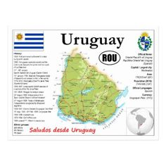 Uruguay map Postcard - postcard post card postcards unique diy cyo customize personalize