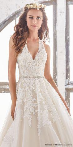 morilee spring 2017 bridal sleeveless halter v neck heavily embellished bodice romantic a  line wedding dress open low back chapel train (5513) zv  wedding dresses with sleeves