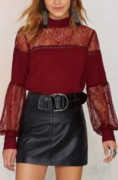 Lace to the Finish Blouse - Red