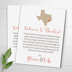 Wedding Welcome Cards, State Themed, Texas Wedding, Welcome Letters, Wedding Welcome Bags, Thank You Cards, Destination Wedding Favors, TX by DesignedByME on Etsy https://www.etsy.com/listing/260109810/wedding-welcome-cards-state-themed-texas
