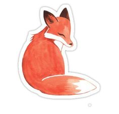 """""""Watercolor Fox"""" Stickers by Ashley Weiler Stickers Cool, Tumblr Stickers, Printable Stickers, Laptop Stickers, Homemade Stickers, Watercolor Fox, New Sticker, Aesthetic Stickers, Sticker Design"""
