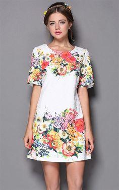 ee-DRESS-EZI-38009-AS-THE-PIC Floral Print Short Sleeve Dress - SALE - on buyinvite.com.au