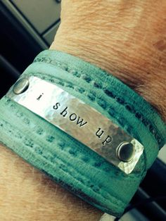 i show up  leather cuff, Melody Ross,  Metal stamped bracelet, painted turquoise, Brave Girls Club,, $35.00