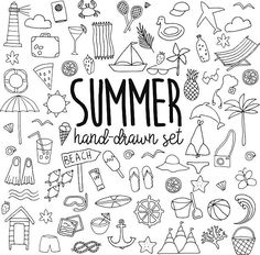 Choose from 60 top Summer Illustration stock illustrations from iStock. Doodle Drawings, Doodle Art, Bujo Doodles, Sketch Notes, Bullet Journal Inspiration, Coloring Pages, How To Draw Hands, About Me Blog, Clip Art