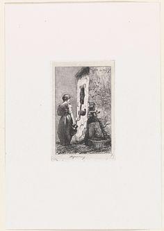 Kornelis Jzn de Wijs | Vrouw met kruik bij waterpomp, Kornelis Jzn de Wijs, 1842 - 1896 | Een jonge vrouw staat in gedachten verzonken met een kruik in de hand bij een waterpomp.