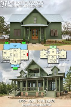 Architectural Designs Modern Farmhouse House Plan has 4 beds Cottage House Plans, Small House Plans, Cottage Homes, House Floor Plans, The Plan, How To Plan, Farmhouse Plans, Modern Farmhouse, Haus Am See