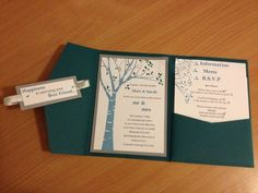 Our finished invitations... :  wedding diy invitations ivory silver teal Invite Open 2