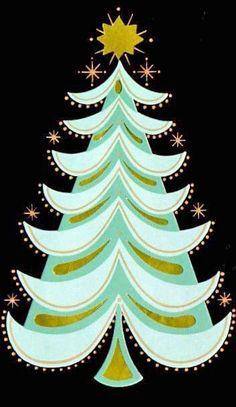 Vintage Christmas Tree Card via thelastdoordownthehall #Illustration #Christmas_Tree #Mid_Century_Modern