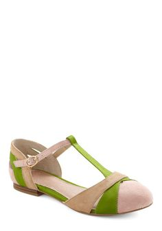 "Modcloth ""Freesia Flat in Green"" by Seychelles $89.99 pale pink and green; what could be more Easter?"
