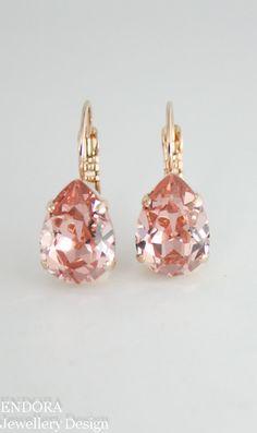 Blush earrings | blush teardrop earrings | blush rose gold | blush wedding…