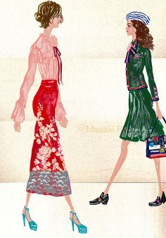 inspired by Gucci - Spring 2016 Ready-to-Wear | illustration by Masaki Ryo.