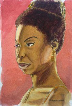 Nina Simone aquarela e nanquim sobre papel 15 x 10
