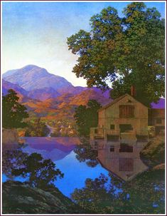 Maxfield Parrish in 1922 was inspired by New Hampshire's scenery to create the lush, romantic painting Daybreak, which became the most popular art print of the century. Landscape Art, Landscape Paintings, Landscapes, Seascape Paintings, Art Paintings, Maxfield Parrish, Popular Art, Inspirational Artwork, Portraits