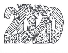 Enjoy bringing in the NEW YEAR with this 2020 coloring activity.ONE of SEVEN designs available. New Year Coloring Pages, Cute Coloring Pages, Coloring Sheets, Coloring Books, New Year Doodle, New Year Art, New Year 2020, New Years Activities, Color Activities