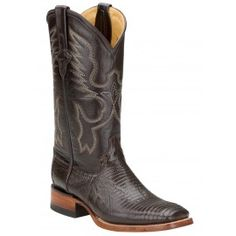 Ferrini Ladies Chocolate Teju Lizard Boots S-Toe 81193-09