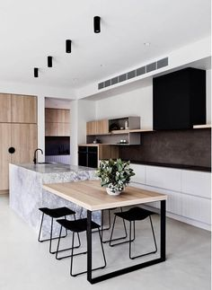 Cuisine style contemporain - Expolore the best and the special ideas about Modern kitchen design Kitchen Island Bench, Kitchen Benches, New Kitchen Cabinets, Timber Kitchen, White Cabinets, Kitchen Island With Table Attached, Contempory Kitchen, Plywood Kitchen, Kitchen Remodelling
