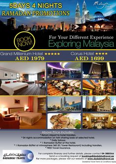Ramadan Promotions - Exploring Malaysia 5 Days / 4 Nights  Visit: http://dadabhaitravel.ae/en/Ramadan_Special_Malaysia.php for mode details.