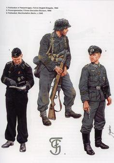 WEHRMACHT - 1 Feldwebel der Panzertruppe, Fuehrer-Begleit-Brigade, 1944 - 2 Panzergrenadiere, Fuehrer -Grenadier-Division, 1945 - 3 Feldwebel der Wacht-Battalion Berlin, 1945 - La Führer-Begleit-Brigade, nacque nel novembre 1944 dalla espansione del Führer-Begleit-Regiment, unità di scorta personale di Adolf Hitler. La brigata, comandata da Otto Ernst Remer partecipò alla offensiva delle Ardenne dove fu elevata a rango di divisione.