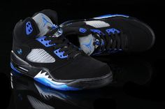 Air Jordan 5 V Retro Shoes Black Blue