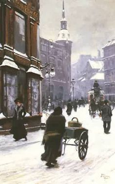 Paul Fischer, A Street Scene In Winter, Copenhagen, Denmark.