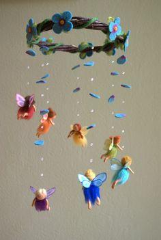 Regenbogen Feen mobile gefilzt Waldorf von byNaturechild auf Etsy