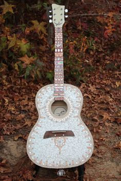 One of a Kind  Mosaic Guitar  Soft Pink Ivory by Sally Kinsey