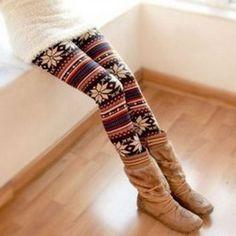 Korea Fashion Stylish Snowflake Patterens Colorful Stripes Leggings #lily