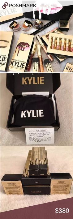 Kylie Cosmetics Complete Birthday Bundle 💄 The Limited Edition Birthday Collection   The Complete Bundle  This includes the following: 1 Lord Metal Lipstick 1 Poppin Gloss 1 Leo Matte Liquid Lipstick 1 Leo Pencil Lip Liner 1 Mini Matte Liquid Lipstick Kit 1 Rose Gold Gel Creme Shadow 1 Copper Gel Creme Shadow 1 Dark Bronze Kyliner Kit 1 Makeup Bag                                                            Sold out on Kylie Cosmetics. 💯 Authentic Kylie Cosmetics Makeup