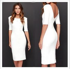 Pure Color Zipper Backless Half Sleeve Knee-length Dress