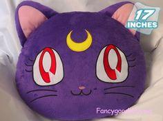 "17"" Sailor Moon Pet Cat Luna Purple Soft Stuffed Plush Cushion Pillow Doll Anime"