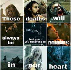 Game of Thrones. These deaths will always be remembered in our heart. Not you Ra - Koala Funny - Game of Thrones. These deaths will always be remembered in our heart. Not you Ra Koala Funny Funny Koala meme Game Of Thrones Meme, Arte Game Of Thrones, Game Of Thrones Joffrey, Ned Stark, Khal Drogo, Winter Is Here, Winter Is Coming, Got Memes, Funny Memes