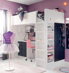 bedroom-interior-adorable-ikea-teenage-bedroom-with-white-painted-ash-wood-bunk-bed-also-pink-plastic-chair-and-purple-painted-wall-decor-21-pictures-of-captivating-ikea-teenage-girl-bedroom-609x647.jpeg (609×647)