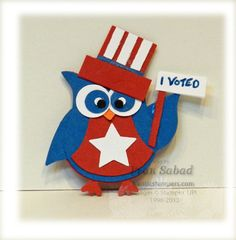 Stampin' Up! 4th of July owl  by Fran at stampersblog.franticstampers owl punch, juli 4th, card owl, canada day, red white blue, juli card, punch art, stampin up 4th of july, patriot owl