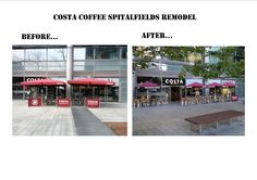 A remodel is just what Costa Coffee Spitalfields needed to update their look. We changed their tired looking side arm umbrellas for our Costa Coffee parasols for a more chic look. Costa Coffee, Umbrellas, Tired, Arm, Chic, Outdoor Decor, Shabby Chic, Elegant, Costa Cafe