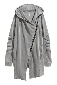 Check this out! Cardigan in sweatshirt fabric with a lined hood. Diagonal zip at front, side pockets, and ribbed cuffs. Raw-edge hem. - Visit hm.com to see more.