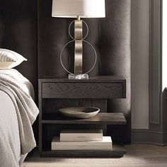 MODERN Left Jelle Nightstand with soft-close drawer. All wood with deep, dimensional oak available in 2 nuanced finishes. Bedside Table Styling, Bedside Table Design, Modern Bedside Table, Bedroom Furniture, Bedroom Decor, Bedroom Inspo, Bedroom Sets, Furniture Design, Shelf Nightstand