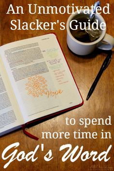 Do you struggle with spending time in God's word? Do you want to enjoy reading your Bible instead of viewing it as a task to simply check off your to-do list? Here's how I'm motivating myself to spend more time with the word. http://allourdays.com/2015/02/slackers-guide-to-spending-more-time-in-gods-word.html