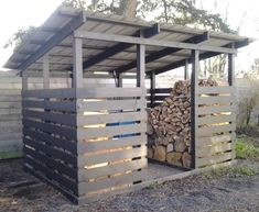 Grey Firewood Storage Shed. Getting a good set of firewood storage shed will really make your job easier. Firewood Shed, Firewood Storage, Diy Storage Shed Plans, Storage Ideas, Wood Storage Sheds, Pallet Storage, Shed Construction, Build Your Own Shed, Casa Patio
