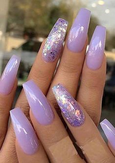 Gorgeous Pastel Lavender With Glitter Nail Art Designs For .- Beautiful pastel lavender with glitter nail art designs for 2019 – – - Purple Acrylic Nails, Summer Acrylic Nails, Best Acrylic Nails, Glitter Nail Art, Purple Nails With Glitter, Pastel Nails, Glitter Pedicure, Violet Nails, Purple Nail Art