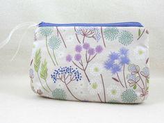 Cotton zipper pouch, floral cotton case, womens floral zipper pouch, cosmetic case, bag accessory by JRsbags on Etsy