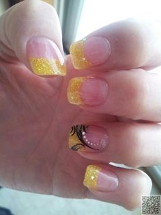 48. #Yellow French Tips - 62 Fabulous French Tip #Designs ... → #Nails #French