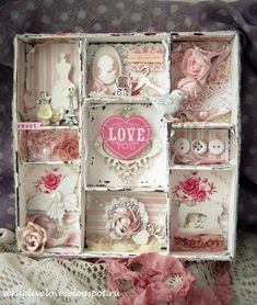 Shabby shelf with compartments - would like to try this with an old soda box/tray. Shabby Chic Crafts, Vintage Shabby Chic, Shabby Chic Decor, Shadow Box Kunst, Shadow Box Art, Shadow Frame, Altered Boxes, Altered Art, Craft Projects